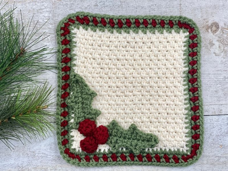 Holly Square Free Crochet Pattern