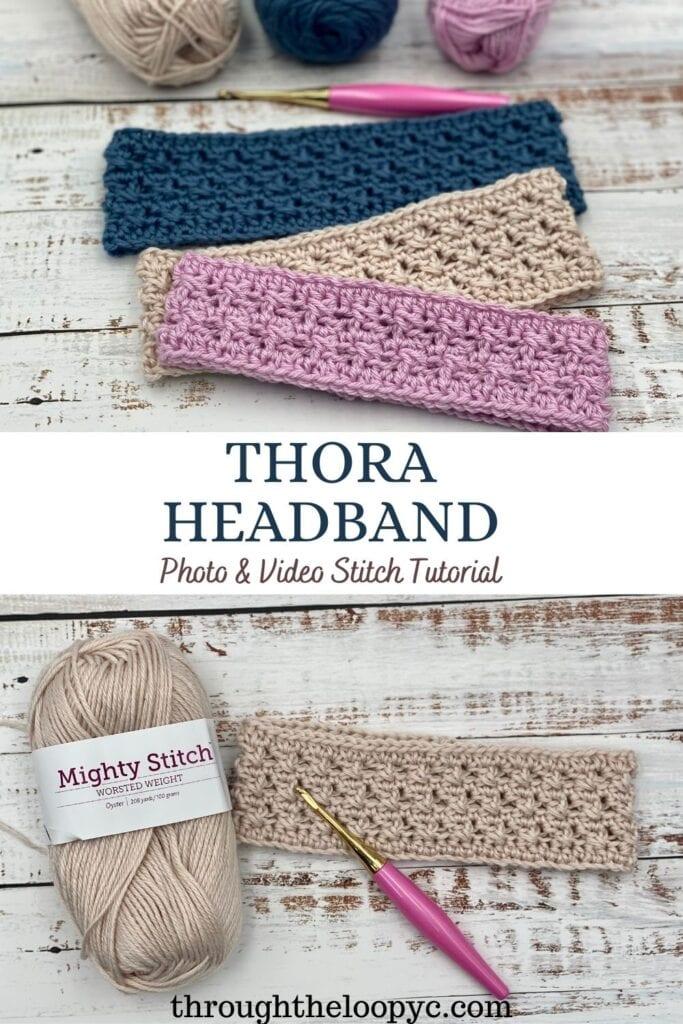 Thora Headband Free Crochet Pattern and Video Tutorial